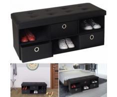 Banc coffre 3 tiroirs noir 100x38x38 cm PVC pliable - Accessoires salles de bain et WC