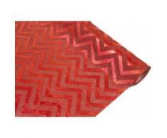Chemin de table effet naturel imprimé chevron rouge/rouge - 28 cm x 4 m - Objet à poser