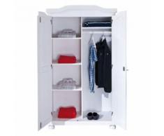 Armoire penderie dressing rangement chambre vintage 2 portes bois massif BLANC - Armoire