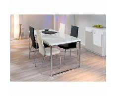 Chaise haute salle a manger cuisine séjour moderne design chrom cuir BEIGE - Chaise