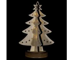 Sapin lumineux décoratif Noël - 21 x 28 cm - Blanc - Objet à poser