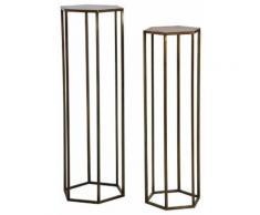 Sellettes hexagonales en métal doré vieilli (lot de 2) - Tables d'appoint
