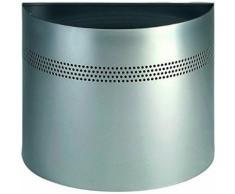 Durable 331623 corbeille à papier demi-ronde 20 litres hauteur 32 cm en métal peint avec bande de perforations coloris argent mé - Accessoires de rangement