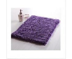 tapis antidérapant moderne en chenille 40 x 60 cm Violet - Accessoires de bain