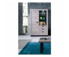 Vitrine, vaisselier, argentier MALAGA coloris chêne wellington + LED. Meuble design pour votre salle à manger. - Buffets