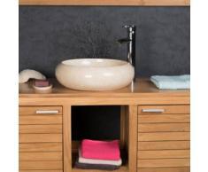 Vasque ronde en marbre à poser VENISE crème 40cm - Installations salles de bain