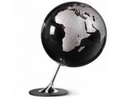 Globe terrestre design noir/argent sur socle chromé - Objet à poser