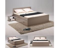 Lit double XENIA 140x190 + 2 chevets + 2 tiroirs / Gris - Cadre de lit