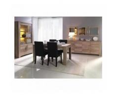Salle à manger complète FERRARA. Buffet + Vitrine/vaisselier + Miroirs + table en 160 cm - Buffets