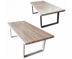Table de salle à manger salon plateau mdf bois 200 x 100 x 75 marron - Tables salle à manger