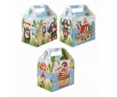 1 Lunch Box Pirate Carton Boite A Gouter D Enfant 14 X 9.5 X 12 Cm Anniversaire Fete - Autres