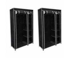 Lot de 2 armoires étagères penderie dressing tissu noir entrée chambre camping /2 - Armoire