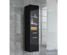 Armoire de rangement Rio Hauteur : 131 cm Noir brillant - Meuble de rangement haut placard meuble de salle de bain - Installations salles de bain