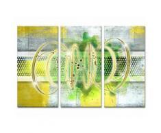 Tableau Déco Triptyque Abstrait Déco Ruche - 120x80 cm - Décoration murale