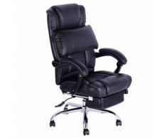Fauteuil manager avec repose-pieds noir - Sièges et fauteuils de bureau