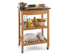 Klarstein Tennessee Chariot de service cuisine Trolley 3 étages Bambou - couverts
