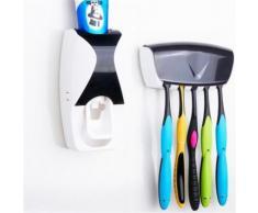 Distributeur Dentifrice automatique Mural Pressoir Porte 5 Brosses A Dents Noir - Accessoires de bain