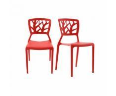 Lot de 2 chaises design rouges empilables KATIA - Chaise