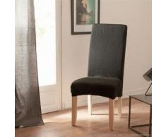 Housse de chaise uni bi-extensible coton/polyester noir - lot de 2 LISA - Textile séjour