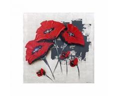FLOWERS Tableau déco toile peinte a la main 50x50 cm rouge - Décoration murale