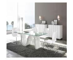 Table à manger rectangulaire 180 cm en verre et bois blanc laqué PAVO - L 180 x l 90 x H 76 - Tables salle à manger