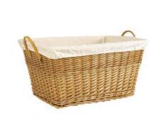 Panier à linge en osier clair avec doublure en coton, 60 x 42 x 30 cm -PEGANE- - Accessoires de bain
