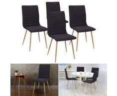 Chaises X4 Polga capitonnées tissu noir pour salle à manger - Objet à poser