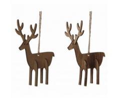 L'Héritier Du Temps - Duo de suspensions décoratives de noël originales esprit nature représentation cerfs en bois marron 4,5x7,5x10cm - Objet à poser