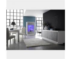 Nouvomeuble - Salle à manger design blanc laqué mat et couleur béton erine 7 - Tables salle à manger