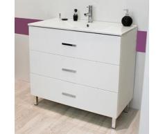 Meuble sur pieds 90 Cartanne, blanc + vasque, miroir, spot - Installations salles de bain