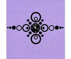 Horloge murale moderne avec autocollant à motif géométrique en acrylique Noir 51 x 90 cm - Décoration murale