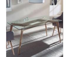 Table à manger scandinave en verre et en bois ALIDA - L 160 x P 90 x H 75 cm - Tables salle à manger