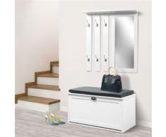 Vestiaire d'entrée luxe en bois blanc meuble chaussures - Vestiaires