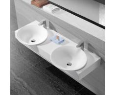 Lavabo Suspendu Double Vasque 140x47 cm, Composite Blanc Mat, Effect - Installations salles de bain