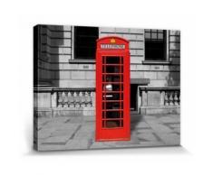 Londres Poster Reproduction Sur Toile, Tendue Sur Châssis - Cabine Téléphonique Rouge (30x40 cm) - Décoration murale