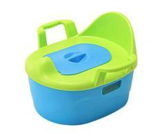 Siège de toilettes avec tapis pour enfants en plastic vert et bleu - Accessoires salles de bain et WC