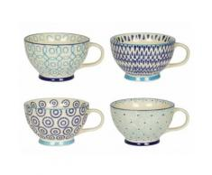 Tasse en grès à motifs assortis 40cl blanc et bleu - Coffret de 4 ADELIE - vaisselle