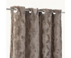 Rideau à oeillets tamisant fausse fourrure effet gauffré 150x250cm NOMADE - Taupe - Rideaux et stores