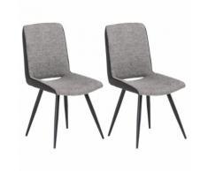 Lot de 2 chaises SANTANDER en tissu gris foncé pour salle à manger ou cuisine, design retro avec 4 pieds en métal laqué noir - Chaise