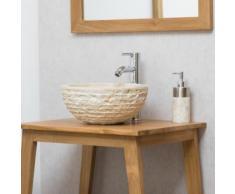 Vasque ronde à poser en pierre VESUVE crème 35cm - Installations salles de bain