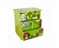 Commode 3 tiroirs chambre enfant motif jungle 48x57x30cm APE06021 - Objet à poser