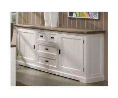 Grand Buffet enfilade contemporain bois massif couleur blanc EMELINE - Buffets