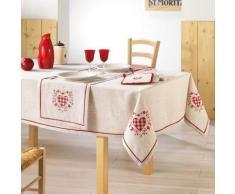 Nappe carrée 85x85 brodée ADELE - linge de table et décoration