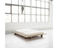 Pack futon coton écru 160x200 structure japan bois naturel - Terre de Nuit - Ensembles matelas et sommier