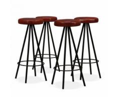 Meelady Tabouret de Bar 4 pcs en Cuir Marron et noir Chaise de Bar 30 x 76 cm - Chaise