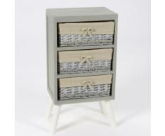 Meuble de rangement en bois 3 casiers Longueur 37 cm ROTIN - Commodes