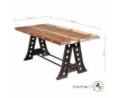 Table de salle à manger unique style Vintage noir bois de manguier recyclé pour la salle à manger - Tables salle à manger