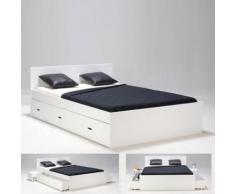 Lit double XENIA 160x200 + 2 chevets + 2 tiroirs / Blanc - Cadre de lit
