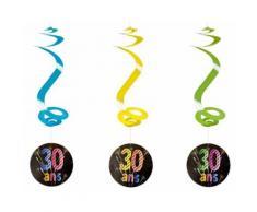Lot de 4 suspensions spirale 30 ans - 60 cm - Objet à poser