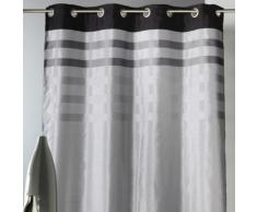 Rideau tamisant à oeillets shantung polyester parement rayé 140x250cm BELLADONE - Gris - Rideaux et stores